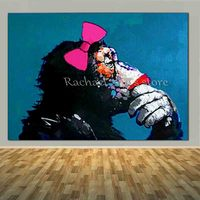 Large Handpainted Modern Abstract Orangutan Animal Oil Painting On Canvas Orangutan Art Wall Picture For Living