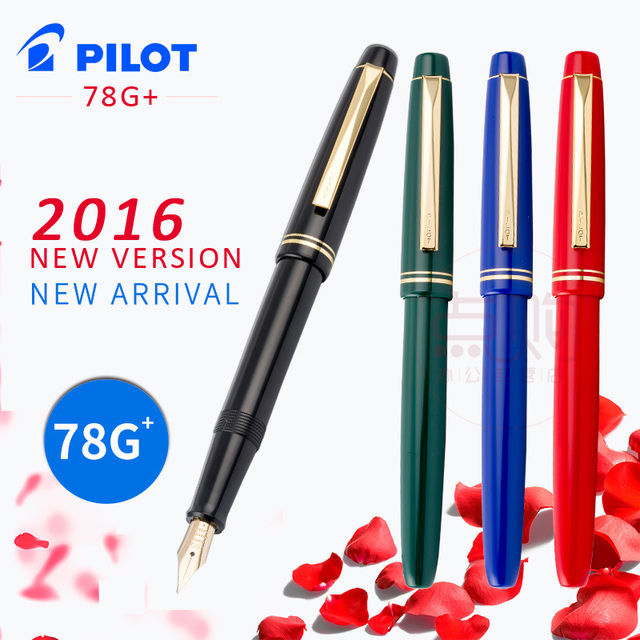 PILOT 78g 22k Golden Original Iridium Fountain Pen Students Practice Calligraphy Ef F M Nib Ink