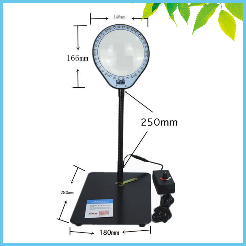 36 LED Illuminated 8X Desktop Magnifying Glass Free Angle Adjustment Magnifier PCB SMD Inspection Repair Tools