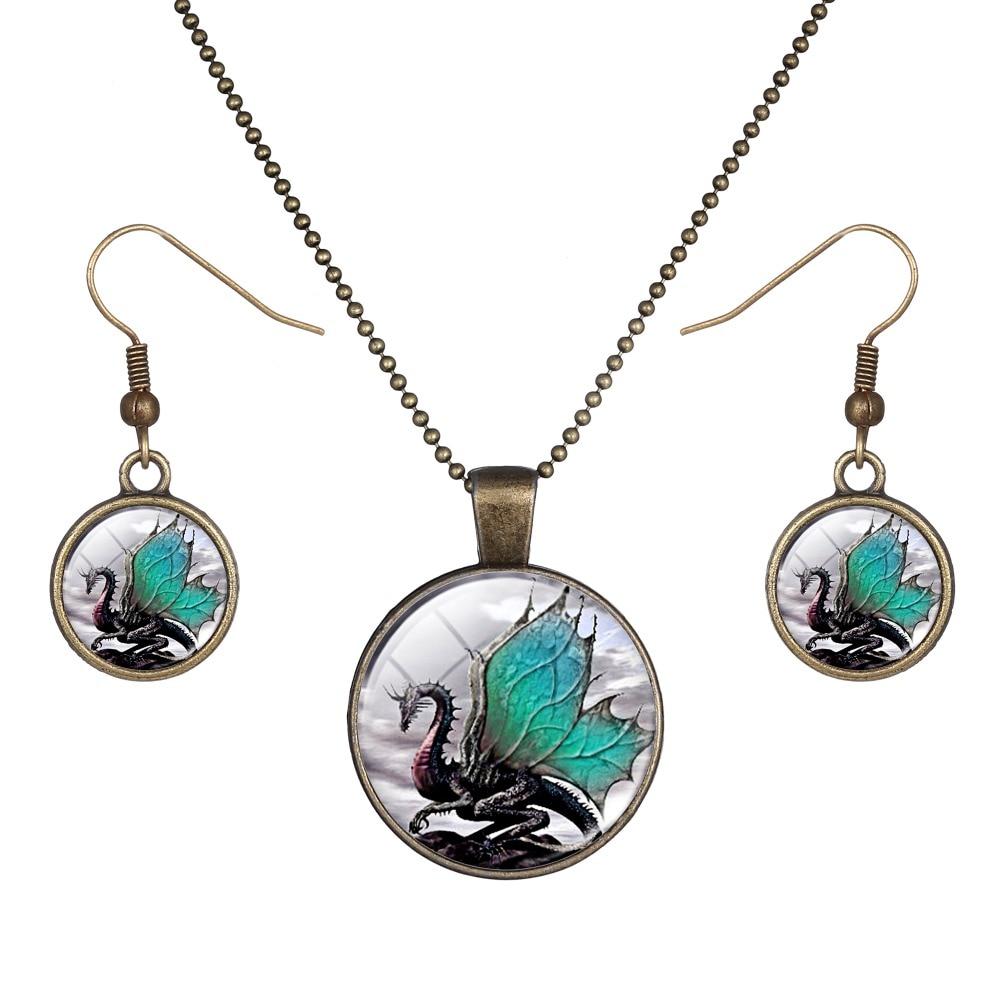Винтаж серебро Цвет Дракон Ювелирные наборы для Для женщин девочек животных серьги ожерелья Аксессуары 1502906C0