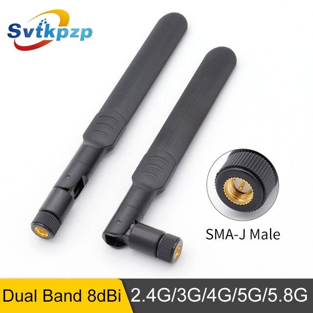 2 PCS 2.4 GHz אנטנת Dual band אומני 8dBi ארוך צלצל אווירי 3G 4G 5G 5.8G WIFI אנטנות SMA זכר j אוניברסלי נתב Antena