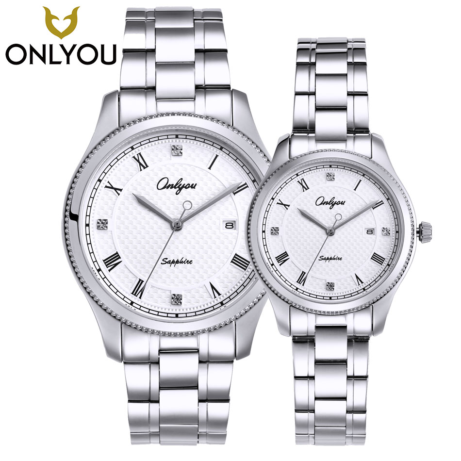 ONLYOU New Brand Quartz Lovers Watches Women Men Dress Stainless Steel Band Dress Wristwatches Fashion Casual Watch Gold 1/ Pair misscycy lz the 2016 new fashion brand top quality rhinestone men s steel band watch quartz women dress watch relogio feminino