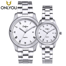 ONLYOU New Brand Quartz Lovers Watches Women Men Dress Stainless Steel Band Dress Wristwatches Fashion Casual Watch Gold 1/ Pair