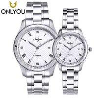 Onlyou новый бренд любителей кварцевые часы женские и мужские платье из нержавеющей стали ремешок платье наручные часы модные повседневные зо