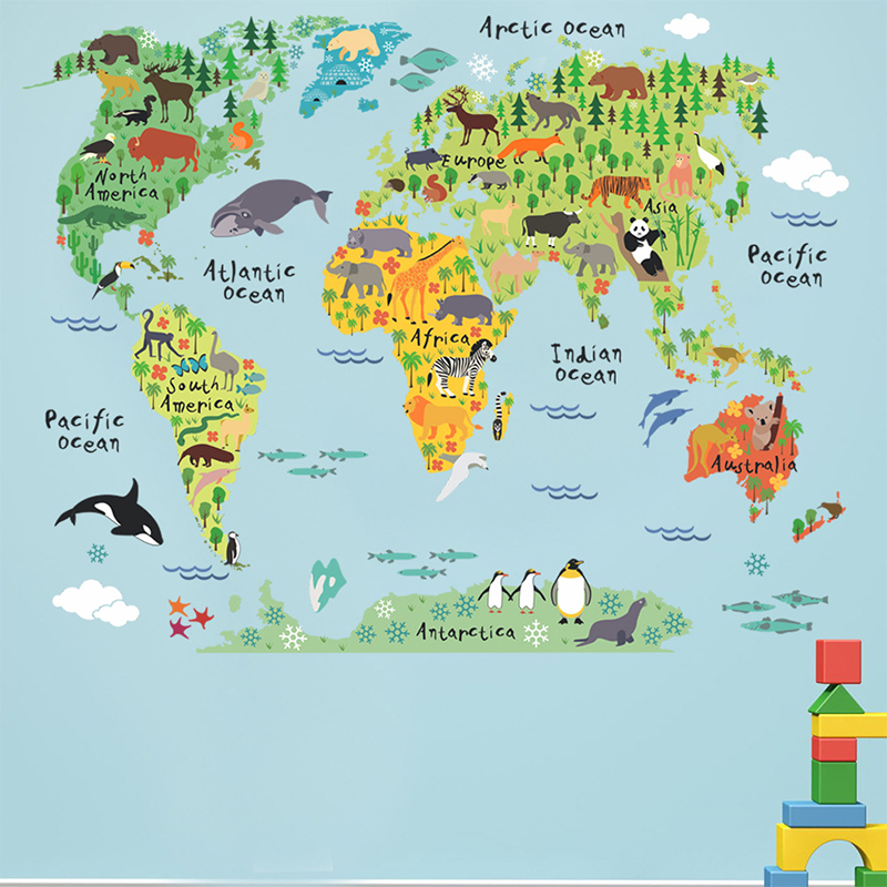 Colorful Animal World Map Wall Stickers Living Room Home Decorations Vinyl Decal Art Mural DIY Office Bedroom Kids Favors