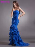 2017 Nowy Prawdziwe Mermaid Długi Royal Blue Prom Dresses Sweetheart Plis Pociąg Sweep Kobiet Wieczór Suknia vestido de festa