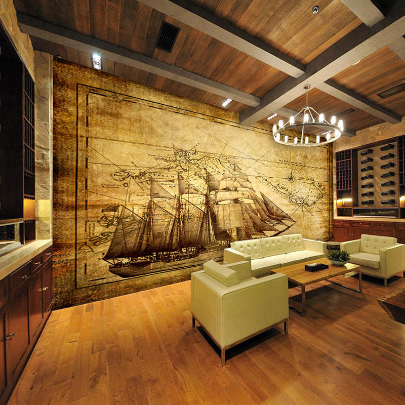 Custom 3d mural wallpaper european retro sailboat large for Cafe mural wallpaper