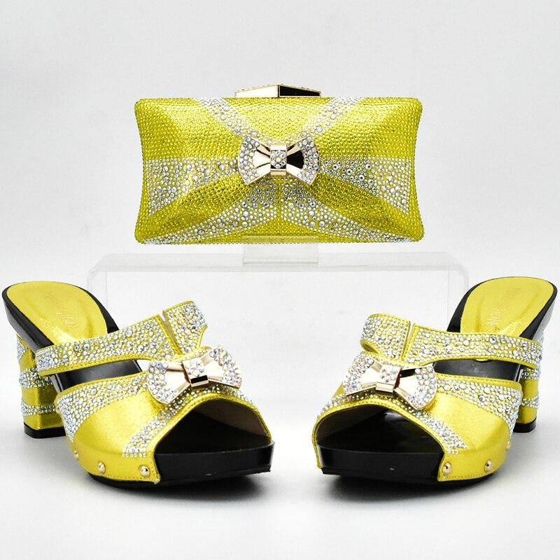 Africana Tacones Zapatos verde plata De Italiano Alta Conjunto A En Bolso Negro rojo oro Mujeres Color púrpura Las Nueva Juego Llegada amarillo Y Bolsos Calidad Amarillo qIAStw1Z