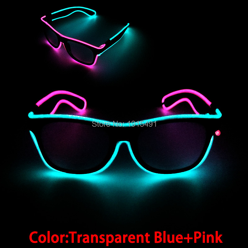 Neon Led Strip Double Colors Mixed 20pcs Wholesales Halloween Glasses EL Cable Rope Blinking Eyewear as Grand Party Supplies topeak outdoor sports cycling photochromic sun glasses bicycle sunglasses mtb nxt lenses glasses eyewear goggles 3 colors