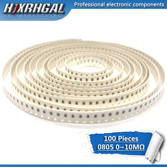 100Pcs 0805 SMD 1/4W Chip Resistor 0R ~ 10M 0 10R 100R 220R 330R 470R 1K 4.7K 10K 47K 100K 0 10 100 330 470 Ohm Hjxrhgal