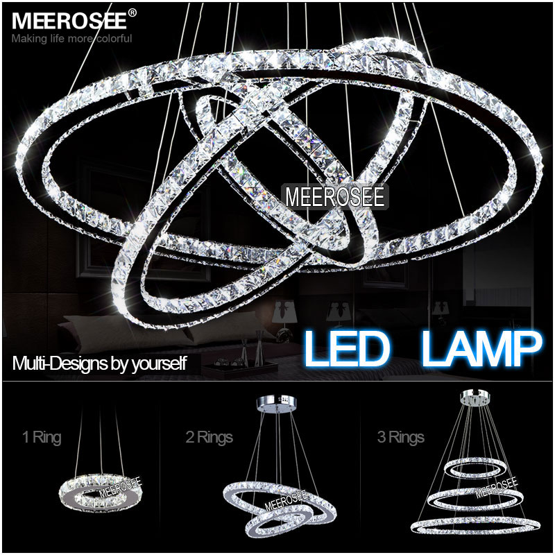 Modern Chrome Chandelier Crystals Diamond Ring Led Lamp