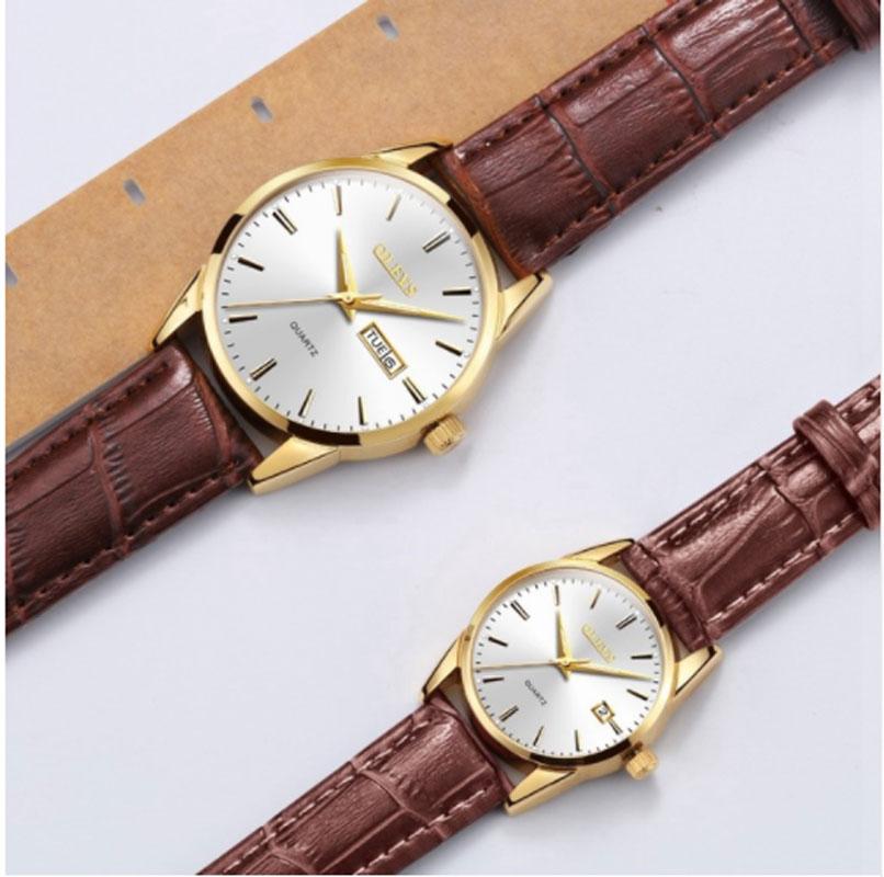 OLEVS Luxury Brand Watches Women Rose Gold Quartz Lover's Wristwatch Leather Business Couple Watch Men Relogio Masculino 1Price