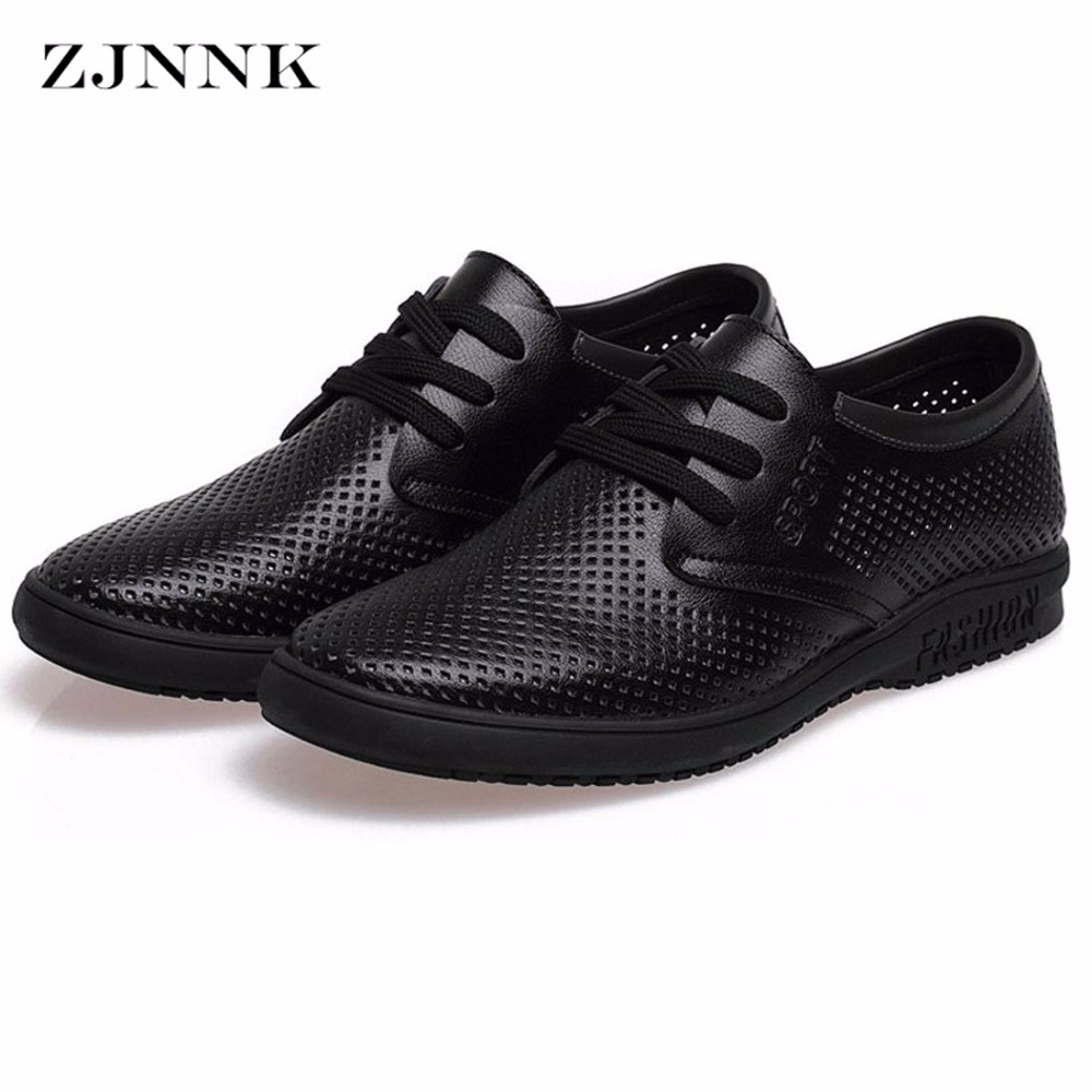ZJNNK Summer Hot Sale Men Shoes Leather Breathable Male Casual Shoes Chaussure Homme Soft Zapatos Hombre Men Leather Shoes 832 zjnnk summer men mesh shoes big size male casual shoes breathable slip on chaussure homme light soft men summer shoes big size
