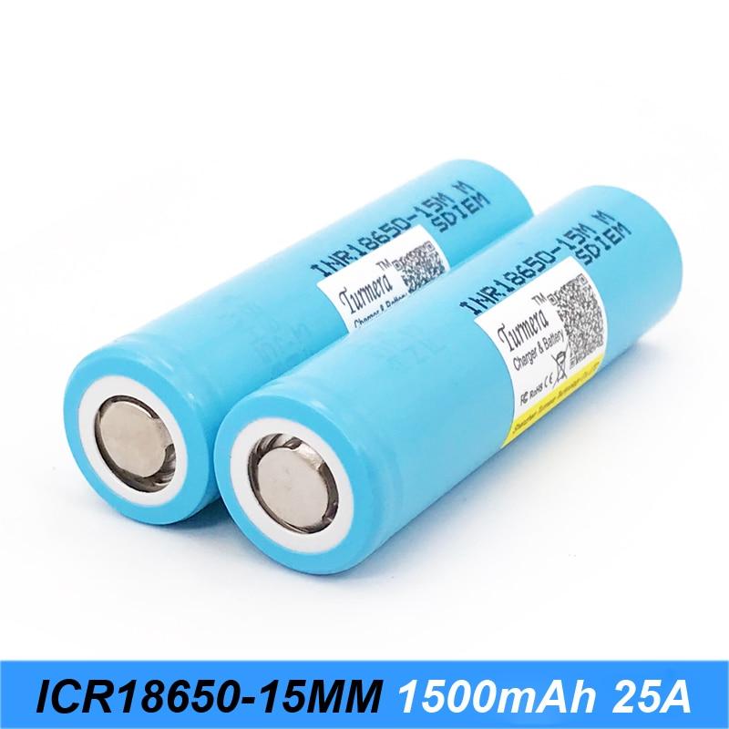Turmera original battery 18650 15M inr18650-15M 1500mah 25A for power tools screwdriver battery and E-cig battery  j28