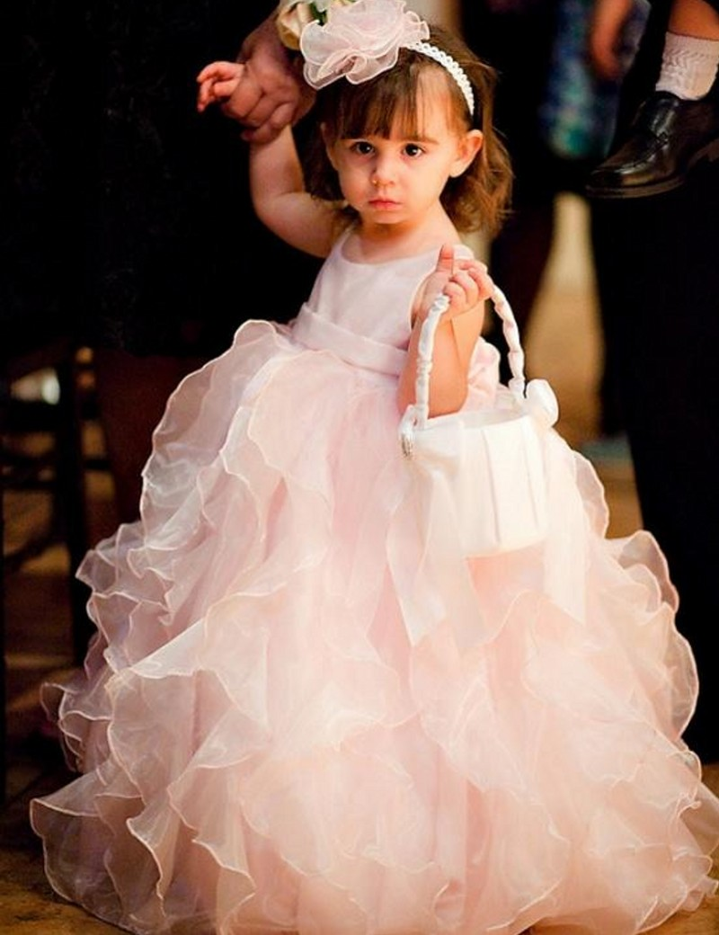2016 Lovely   Girls     Dress   Scoop Sleeveless Ball Gown Floor Length Ruffle Organza   Flower     Girls     Dresses   Cheap Little   Girl   Party Gown
