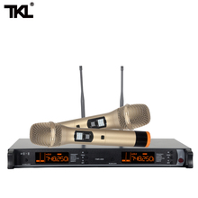 цены FMR-600 2 Channel Handheld Stage Dual Golden professional wireless microphone System ktv party