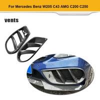 For W205 C43 AMG C Class Standard Carbon Fiber Front Bumper Air Vent Cover Trim Grill Frame for Mercedes Benz C200 2015 2019