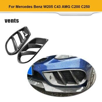Için W205 C43 AMG C Sınıfı Standart Karbon Fiber Ön Tampon havalandırma kapağı Trim Izgara Çerçevesi Mercedes Benz C200 2015 -2019