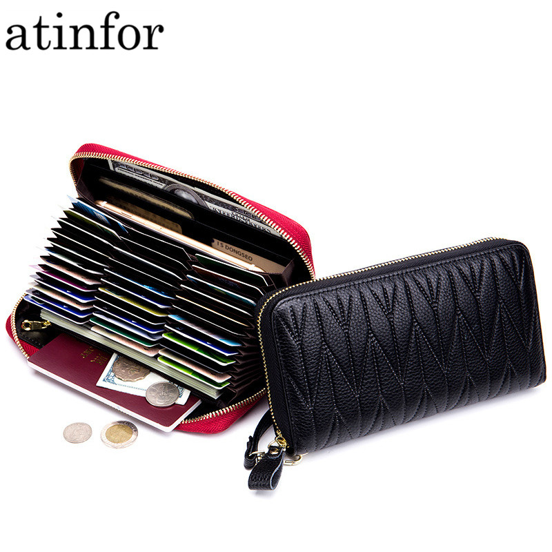Genuine Leather RFID Blocking Credit Card Holder Women Wrist Clutch Purses Long Phone Bag with Zipper Coin Pocket <font><b>36</b></font> Card Slots image