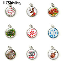 Merry Christmas Round Photo Glass Cabochon Charms Jewelry Accessories Hand Craft Stainless Steel Plated Pendant Christmas Gifts(China)