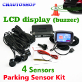 4 Sensors 22mm Buzzer LCD Parking Sensor Kit Display Car Reverse Backup Radar Monitor System 12V 8 Colors