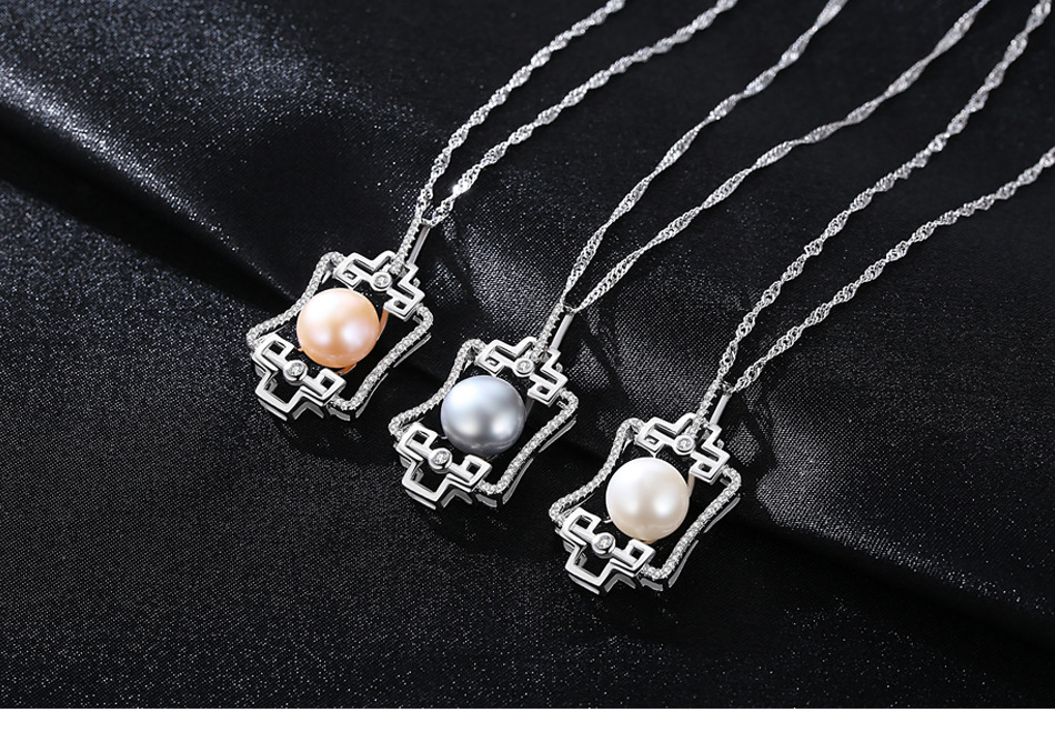 S925 sterling silver necklace pendant natural freshwater pearl boutique jewelry women's accessories C04 цена и фото