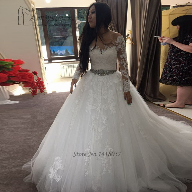 c7d8abceeed Elegant Long Sleeve Lace Wedding Dresses Ball Gown Bride Dress 2017  Princess Diamond Belt Wedding Gowns Robe de Mariee Trouwjurk