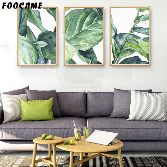 foocame tropical plants banana leaves ink posters and prints art