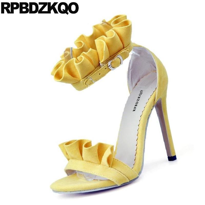 Zapatos Sandalias Amarillo Correa 2017 Tacón Negro De Lujo Tobillo lFcJT5uK13