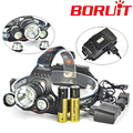 Boruit 3 LED Headlight 8000 Lumens XM-L T6 Head Lamp High Power LED Headlamp  X 2*18650 battery Charger+Usb Cable + Car charger