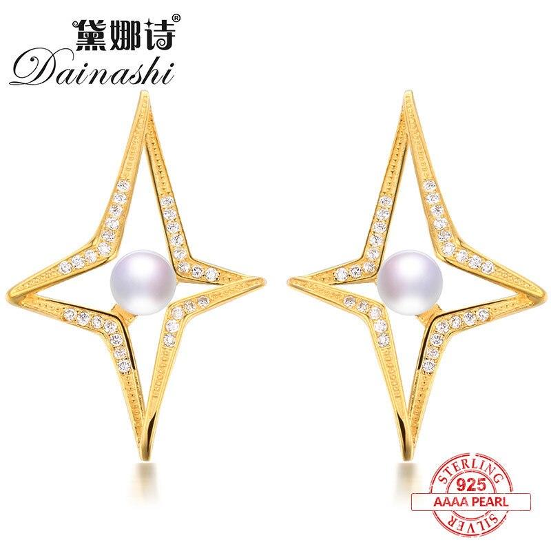 Dainashi hyperbole star shape 925 silver pearl stud earrings for women gifts brand fine jewelry for travel/party/wedding