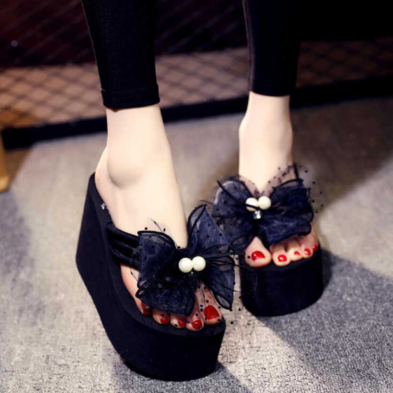 Yay yaz kadın ayakkabı platformu terlik kama plaj Flip flop yüksek topuk terlik marka süper yüksek bayanlar ayakkabı c24