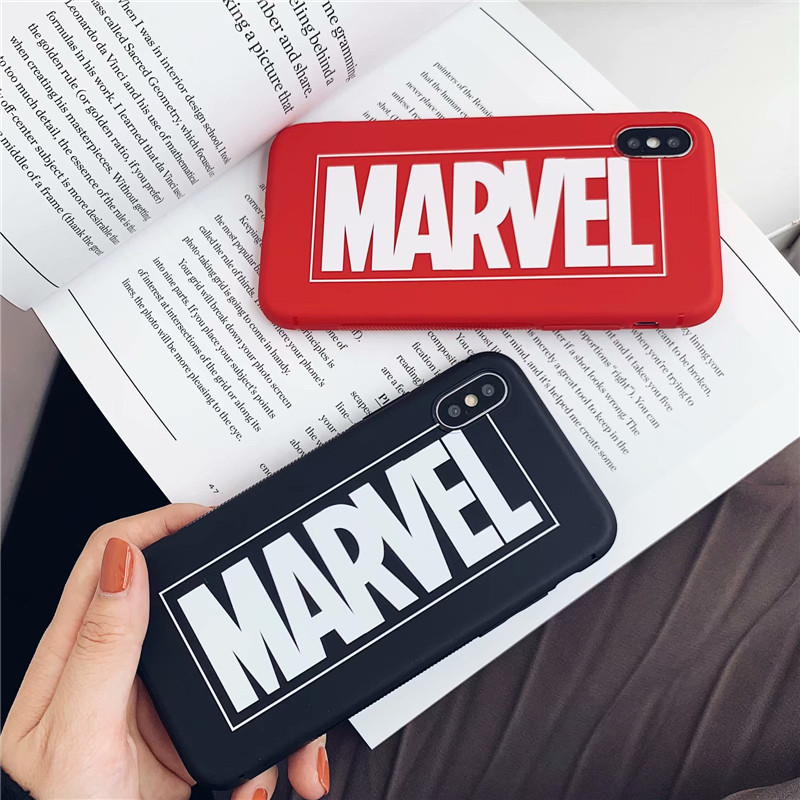 3D relief Marvel case for iphone X XS Max XR 8 7 6 6s plus American comics letter matte Soft tpu silicone phone cover coque marvel glass iphone case