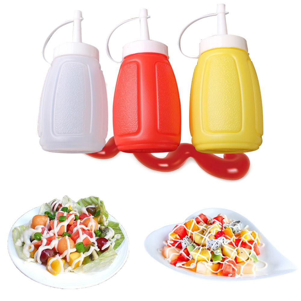 Plastic Sauce Squeeze Bottle Tomato Ketchup Cream Sauce Jam Salad Seasoning Bottle Durable Ketchup Gravy Cruet Color Random image