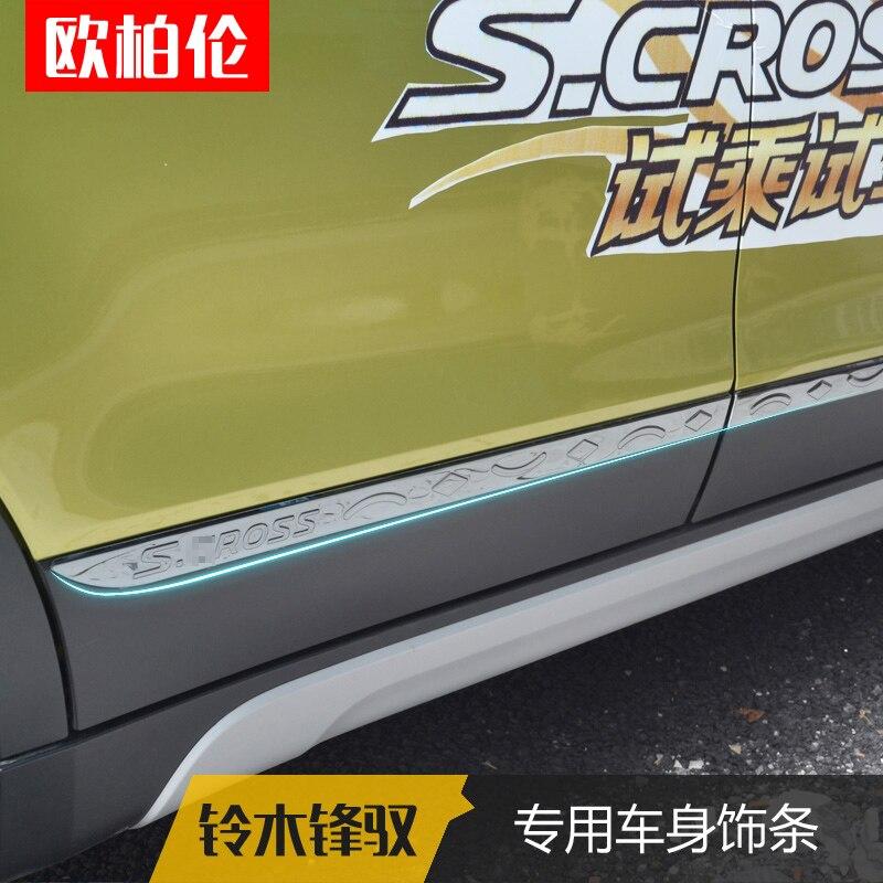 Bande lumineuse de haute qualité de décoration de porte de voiture d'acier inoxydable pour Suzuki SX4 s-cross S Cross 2014-2018 bâches de voiture