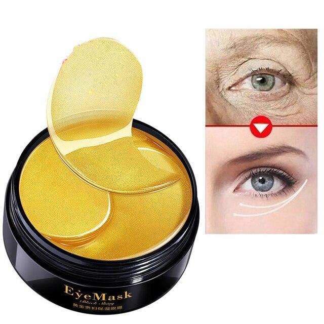 Máscara de ojo de oro hidratante parches de cristal de colágeno para el cuidado de los ojos máscara ojeras eliminación de párpados parche antiarrugas ojo Pad