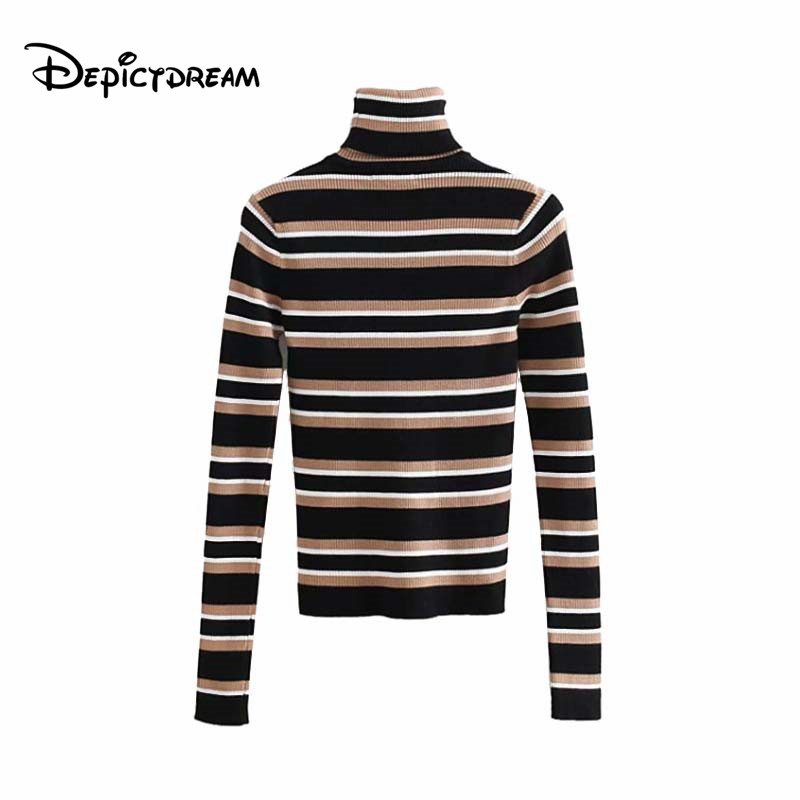 2019 women chic striped knitted turtleneck sweater long sleeve stretchy pullovers vintage female casual basic tops