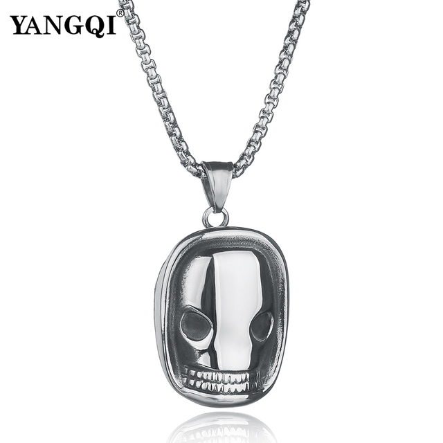 YANGQI Stainless Steel Cool Chainsaw Massacre Mask Pendant Necklace for Men  Terrifying Mask Necklace Punk Jewelry