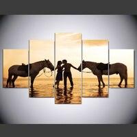 ม้าคู่ร้อนผ้าใบพิมพ์จิตรกรรมฝาผนังศิลปะ5ชิ้นตกแต่งบ้านรูปภาพแผงโปส