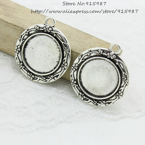 12pcs Antique Silver Metal Alloy Flower Cameo 30*34mm(Fit 20mm) Round Cabochon Pendant Setting Jewelry Blank Pendant Tray A4211