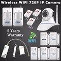 Wi-fi sem fio 720 P Câmera de Visão Noturna Sistema de Alarme GSM SMS para Casa Inteligente com Sensor Da Porta Da Garagem de Rolamento Sem Fio Detector