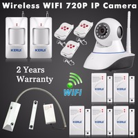 Wireless Wifi 720P Camera GSM SMS For Smart Home Alarm System Night Vision With Wireless Rolling