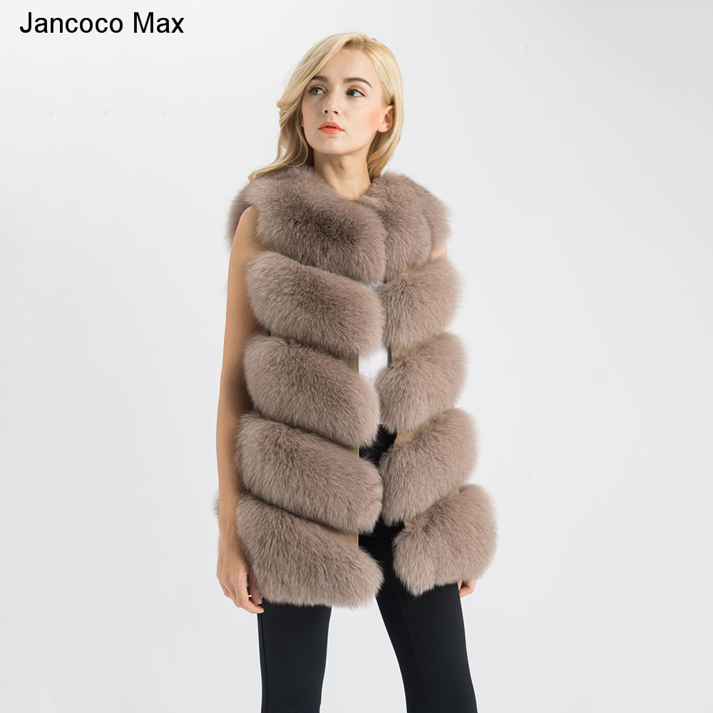Jancoco Max 2019 Real Fox Fur Gilet Women Winter Genuine Soft Natural Fur Long Vest High Quality Fashion Coat 5 Rows Vest S1571