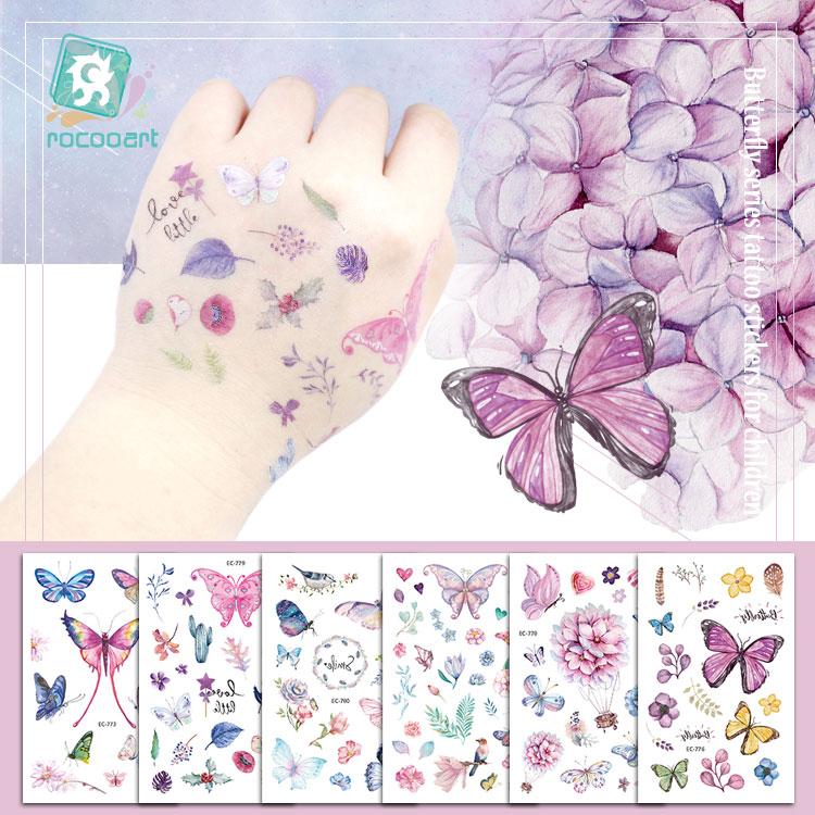 Rocooart Butterfly Tattoo Sticker For Children Birthday Gift Cute Fake Taty Kids Body Art Waterproof Temporary Tattoos Cartoon