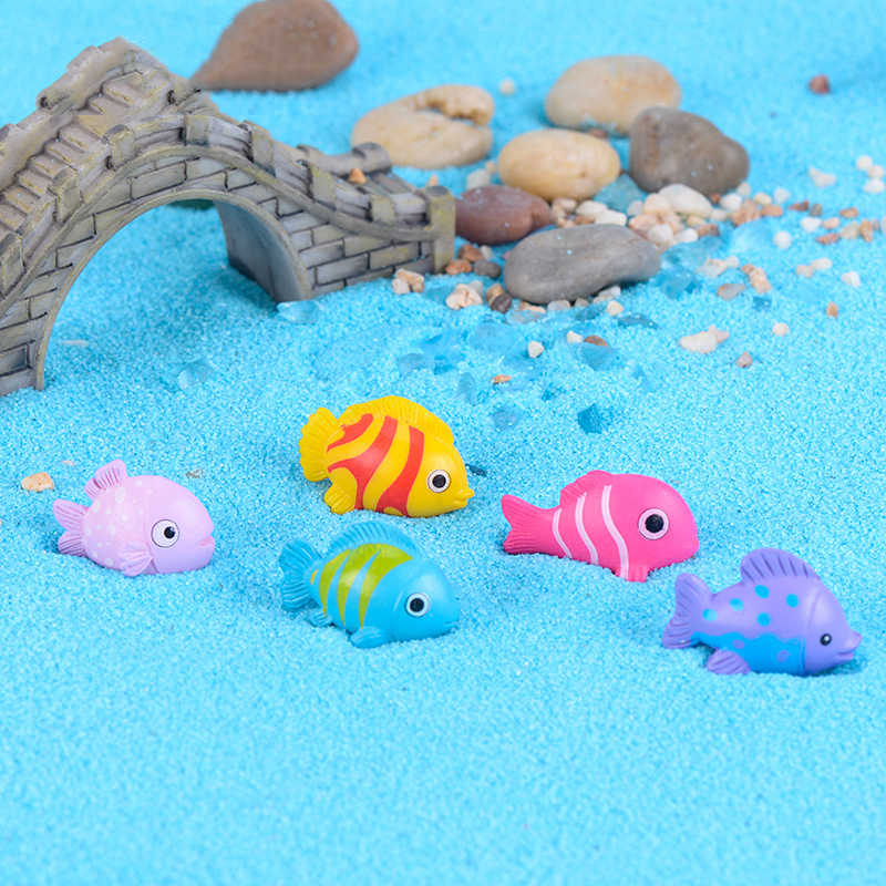 ZOCDOU 1 Piece Colorful Undersea Cartoon Fish Fishbowl Model Small Statue Figurine Crafts Figure Goldfish Ornament Miniatures