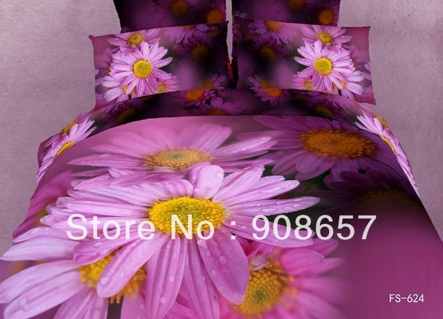 cotton bed linen magenta daisy flower printed bedding set 3D bed sheets home textile discount quilt/duvet covers full comforter