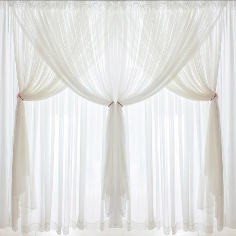 Hot Luxury Quality chiffon curtains fluffy tulle 3 layers