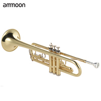 ammoon Trumpet Bb B Flat Brass Gold painted Exquisite Durable Musical Instrument with Mouthpiece Gloves Strap Case