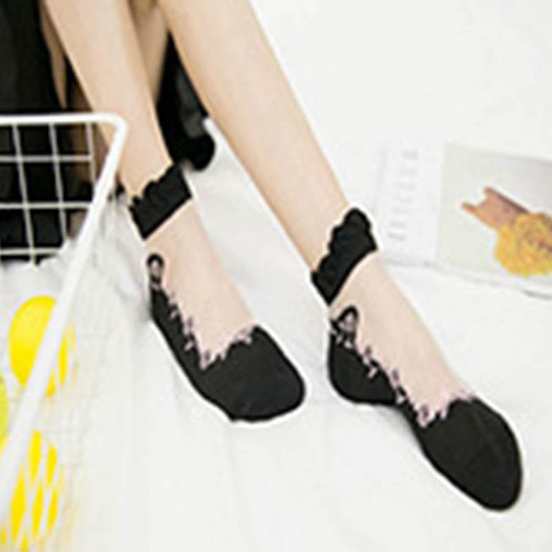 Mesh Crimping Lace Meias Fashion Silk Female Short Sokken Women Elegant Socks