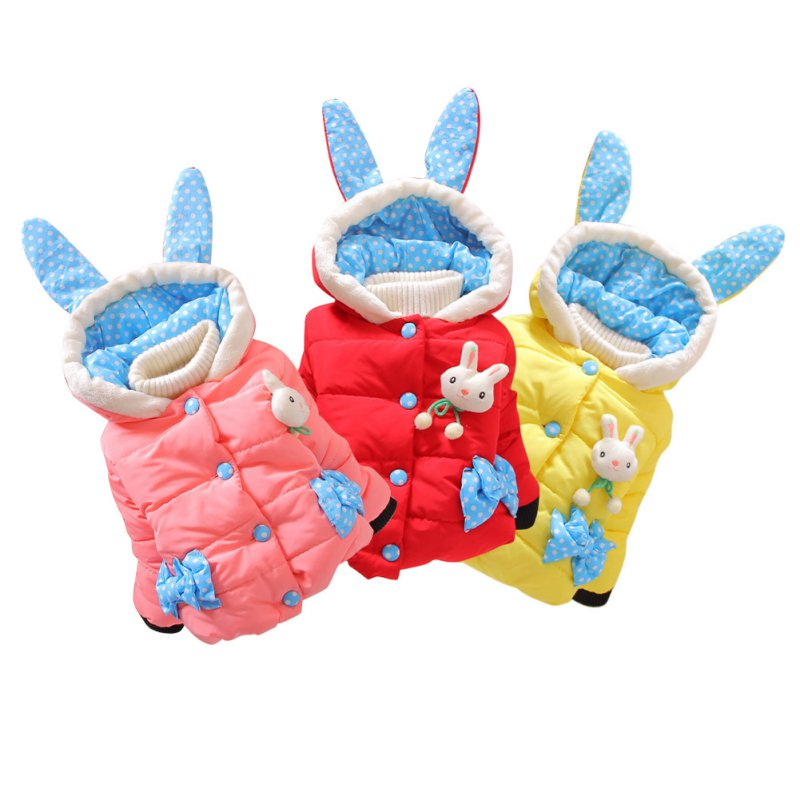 Girl Jacket Coat Cute Warm Outerwear Winter Coat Hooded Jacket Cartoon Rabbit Children Outerwear